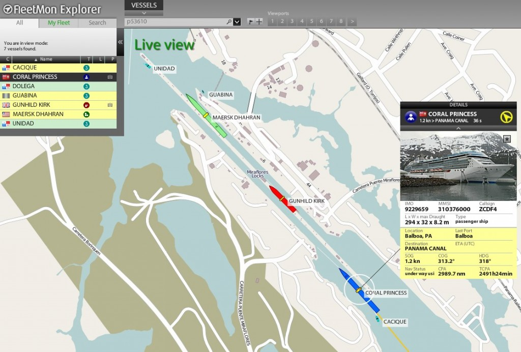 CORAL PRINCESS, MAERSK DHARAN and others live in the Miraflores locks, Panama Canal, seen with Fleetmon Explorer