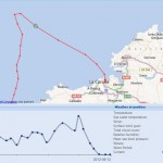 Strong winds off La Coruna, recorded in FleetMon Satellite Tracking long-term archive