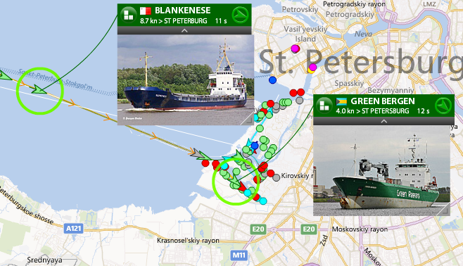 Live marine traffic in St. Petersburg