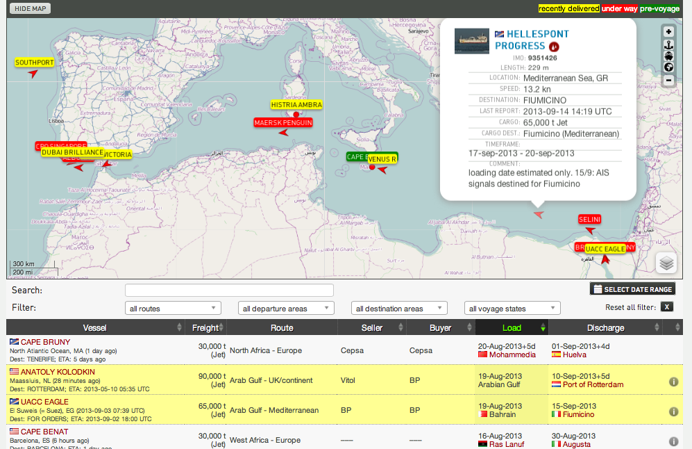 OPIS Tanker Tracker - jet fuel cargoes visualized at FleetMon.com