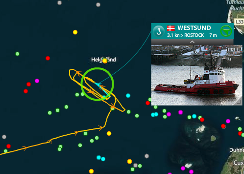 Live vessel traffic around Helgoland, North Sea