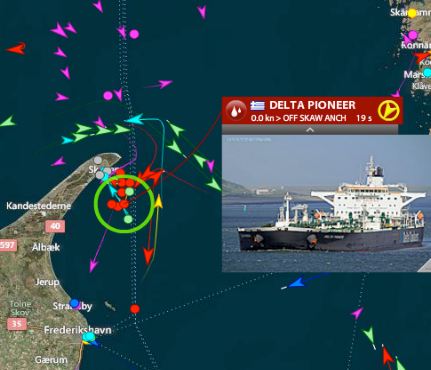 Live vessel traffic around Skagen, Denmark