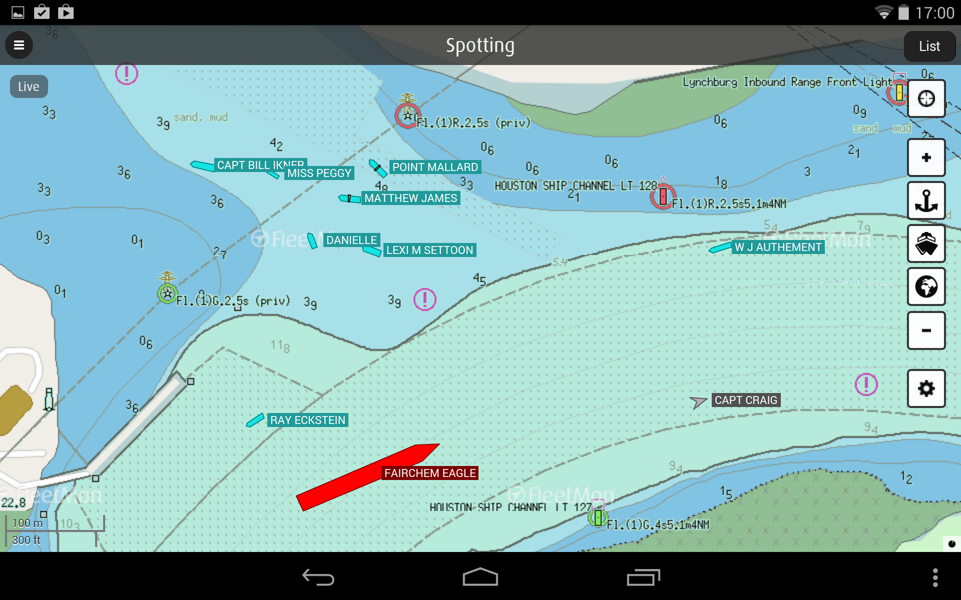 FleetMon mobile - true vessel dimensions on navigation charts
