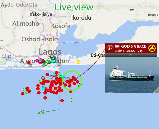 Live vessel traffic around Lagos