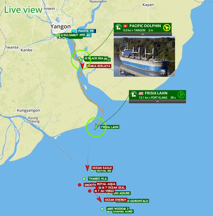 Enjoy the fresh AIS coverage for the port of Yangon (ရန်ကုန်) in Myanmar!
