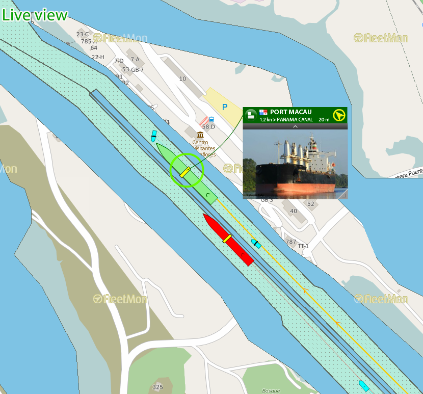 Follow vessel maneuvers in the Panama Canal on FleetMon's sea charts