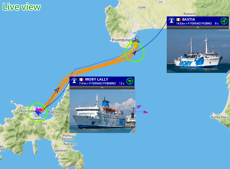 Watch the MOBY's ferries pending live between Italian ports Portoferraio and Piombino