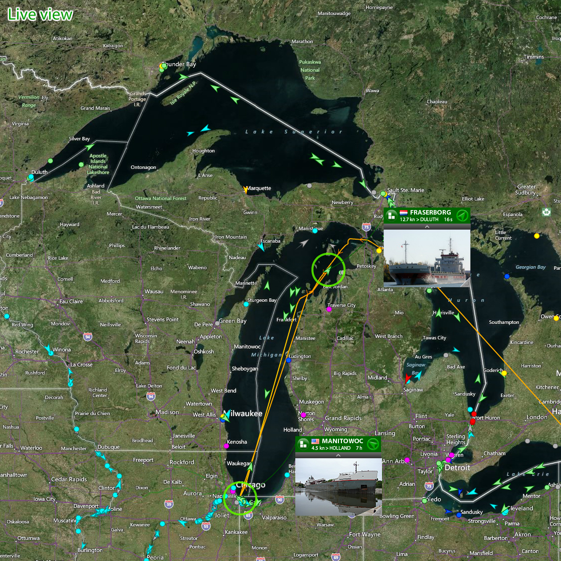 Great Lakes with live AIS coverage