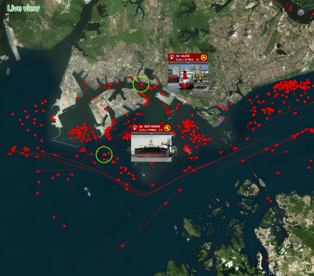 live view of tankers only around Singapore